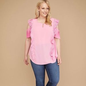 Lane Bryant Pleated Ruffle Cold Shoulder Top 22